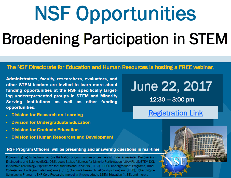 NSF Opportunities: Broadening Participation in STEM